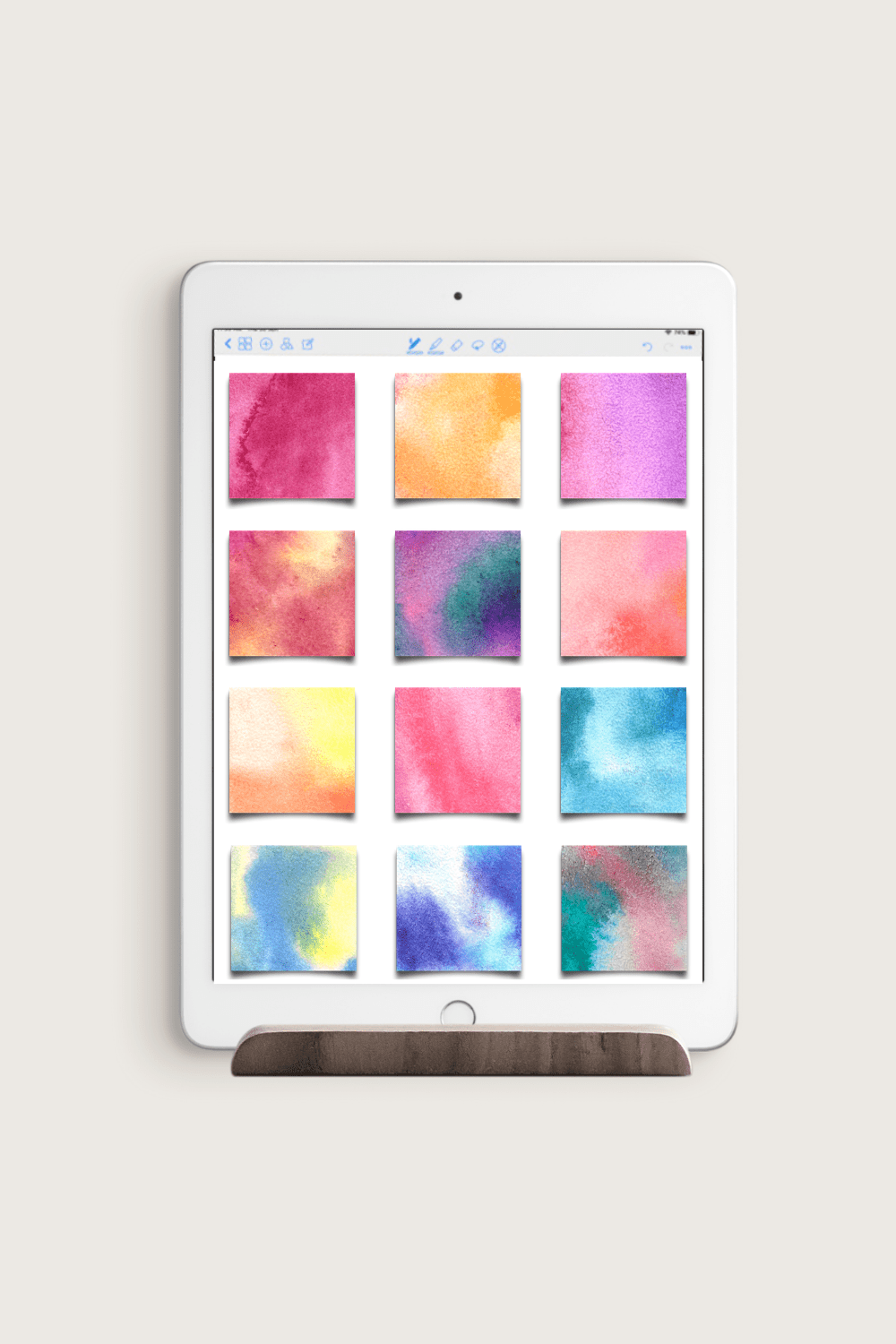 12 Watercolor Sticky Notes for Goodnotes